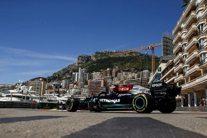 De Mercedes van Hamilton in Monaco.