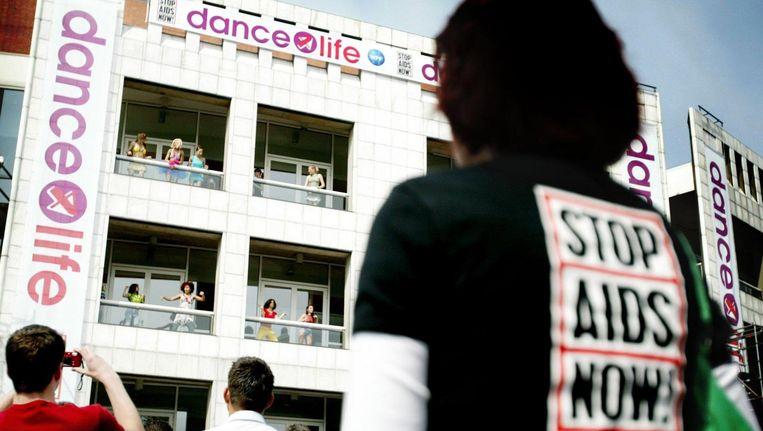 De kick off van het dance4life-evenement in Amsterdam in 2004 Beeld anp