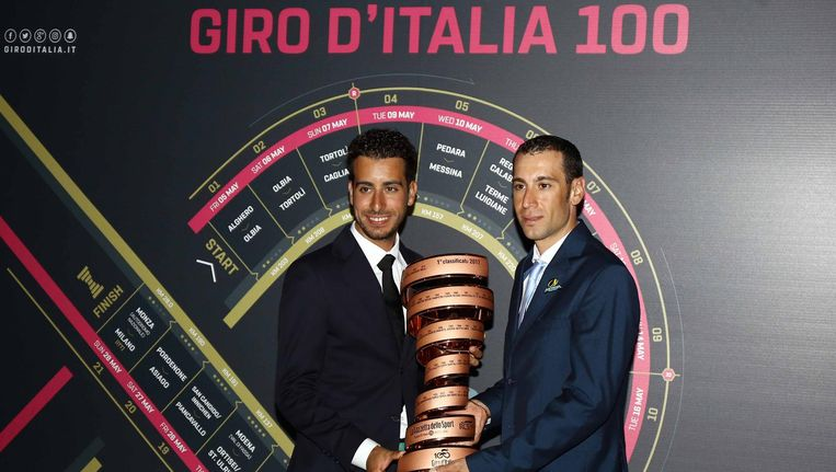 Fabio Aru (l) en Vincenzo Nibali (r) zijn de grote favorieten voor de 100e editie van de Giro