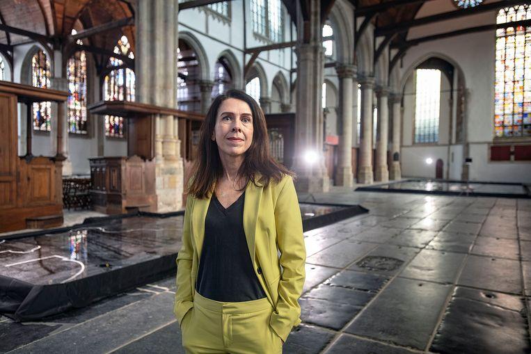 Directeur Jaqueline Grandjean in de Oude Kerk. Beeld Guus Dubbelman / de Volkskrant