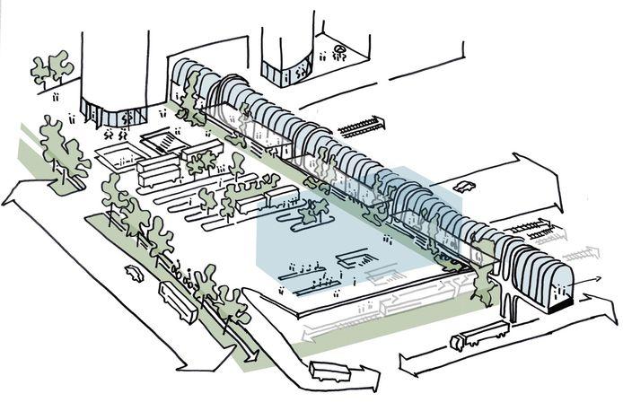 De eerste schetsen voor 'station Zoetermeer Centraal', het stationsgebied rond de Mandelabrug, getekend door Team V Architectuur.