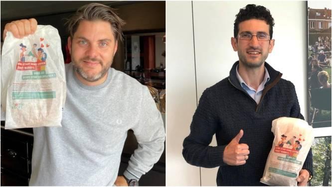 Jeroen Meus en burgemeester Ridouani steunen broodzakkenactie Home-Start Vlaanderen
