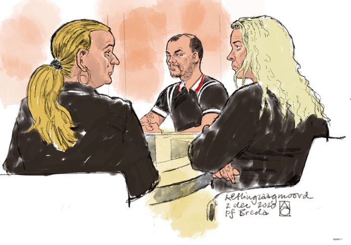 Rechtbanktekening van (vlnr) Wanda van R., Nicky S. en Edna V. tijdens een tussentijdse zitting.