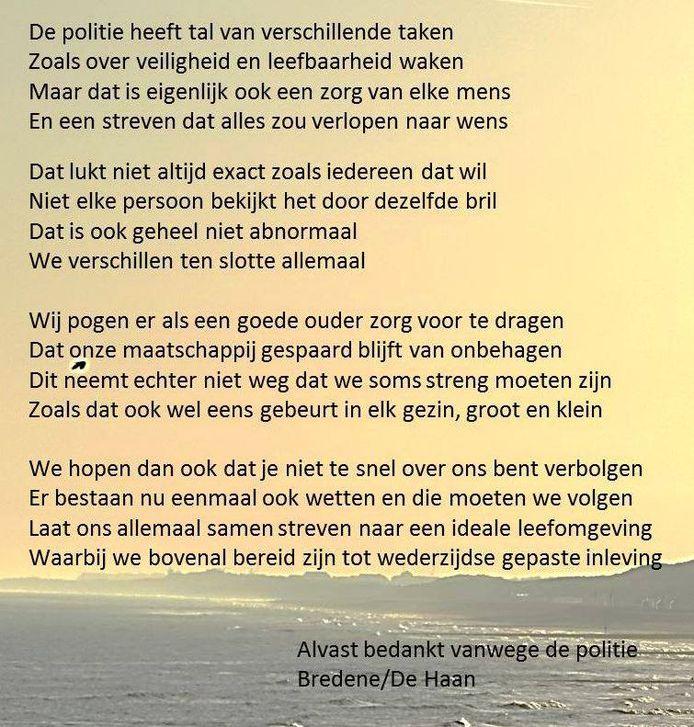 Het gedicht van de politiezone Bredene/De Haan