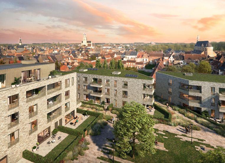 Een toekomstbeeld van het Handbogenhof in Lier.