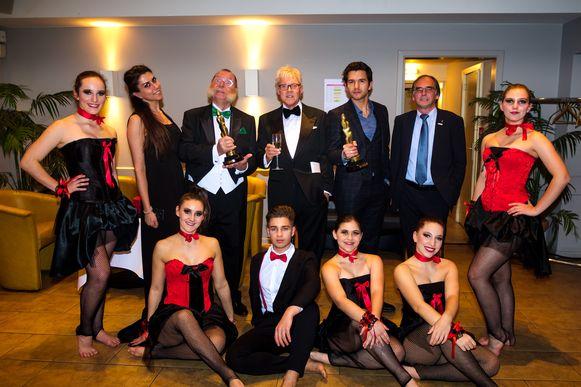 20181123, Hasselt, Belgium. Frans Billen organiseert de Golden Hasselt Awards in de Lorka. In picture: Winnaars Jos Tuts en Matteo Simoni met in het midden organisator Frans Billen en rechts juryvoorzitter Jos Dessers.