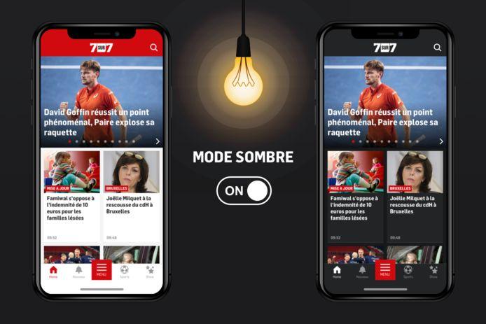 Vous pouvez désormais activer le mode sombre sur l'app 7sur7.