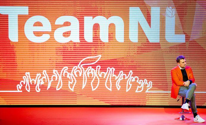 Chef de mission Jeroen Bijl tijdens de teamoverdracht van Olympic en Paralympic TeamNL voor de Olympische Spelen van Pyeongchang.