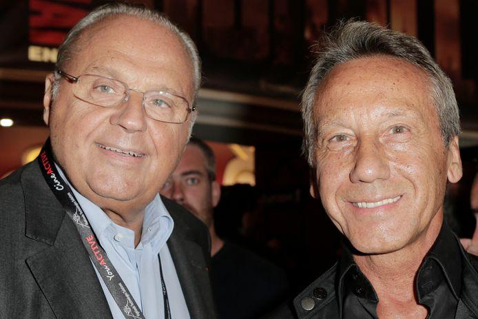 Le producteur Gerard Louvin et son mari Daniel Moyne, lors du spectacle de Jean-Marie Bigard fêtant ses 60 ans sur la scène du Grand Rex