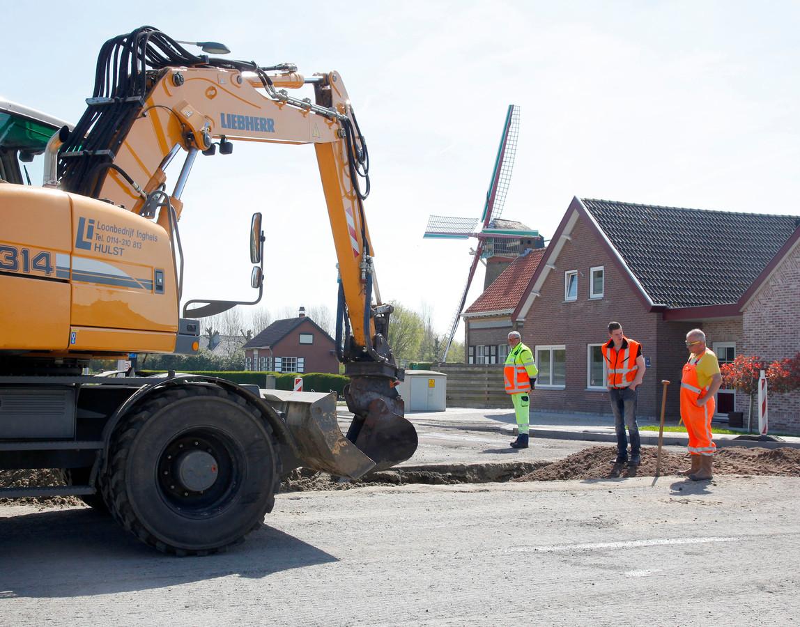 De herinrichting van de Hulsterweg in Kuitaart, vier jaar geleden.