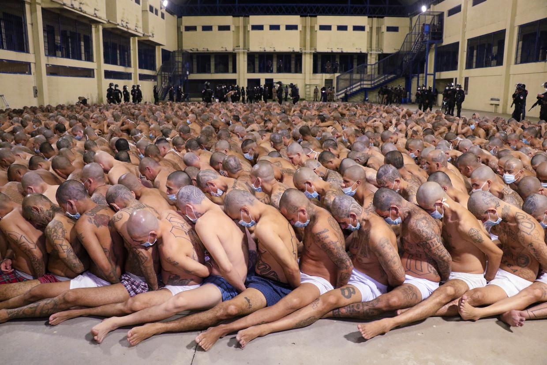 Gevangenen in de Izalco gevangenis in El Salvador moeten dicht op elkaar in rijen wachten tijdens een veiligheidsoperatie onder leiding van de politie.  Beeld AP