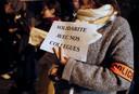 Archiefbeeld. Een protest van politie-agenten om solidariteit te betuigen met de collega's die werden aangevallen met molotovcocktails. (18/10/2016)