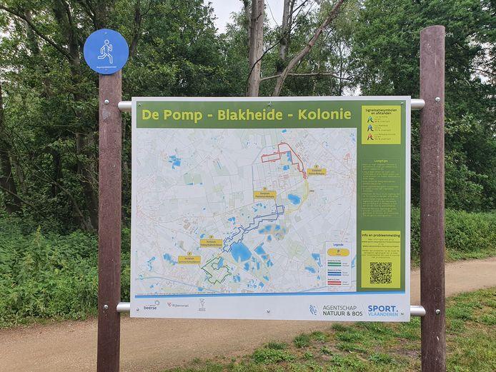 De natuurloop doorkruist De Pomp, Blakheide en de Kolonie.