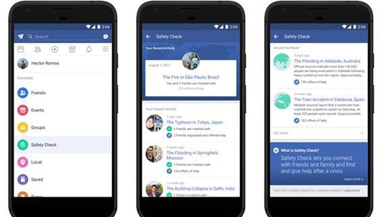 De vaste Safety Check-functie in de Facebook-app. Beeld Facebook
