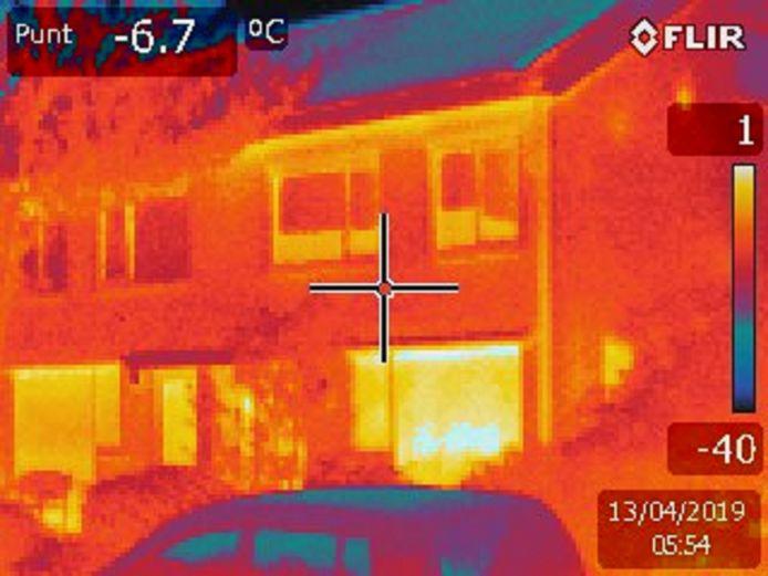 Warmtefoto van een woning in de wijk Hambroek in Borculo.
