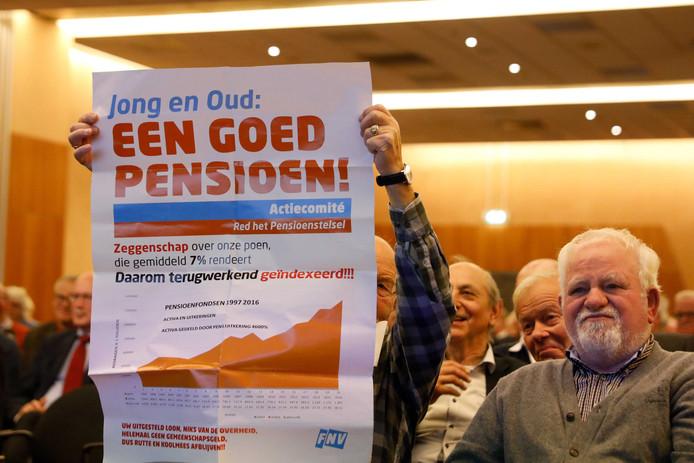 Een manifestatie van vakbondsleden voor een goed pensioenstelsel voor alle generaties.