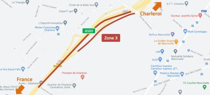 Phase 3 du chantier sur la A503 à hauteur de Marcinelle (Charleroi).