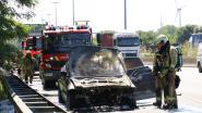 Taxi grotendeels uitgebrand tijdens rit op E17