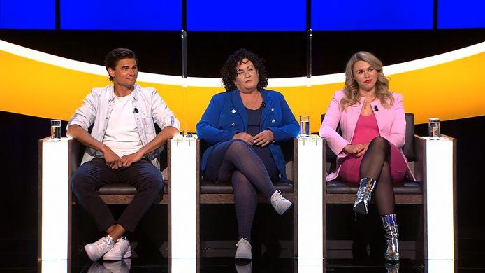Milan van Dongen (links) en Lisa Loeb (rechts) waren tien jaar geleden geliefden. In het midden: politica Caroline van der Plas.