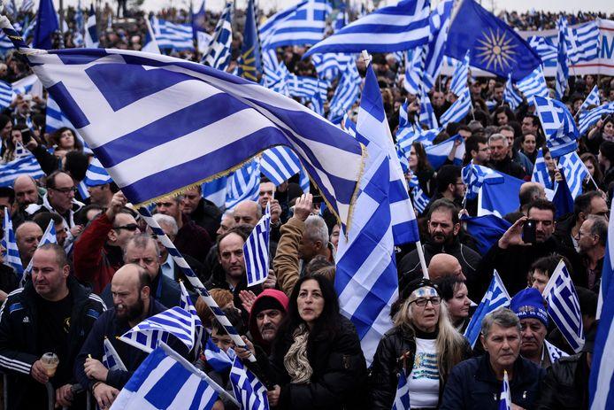 """Protest omwille van de naam """"Macedonië"""" in Thessaloniki op 21 januari"""