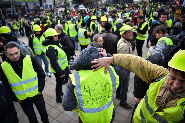 Een gelehesjesdemonstratie in Parijs in januari van dit jaar. Beeld AFP