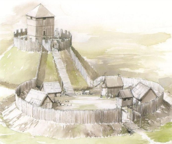 Een reconstructietekening van de middeleeuwse burcht van Ninove.
