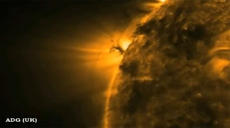 Beelden die NASA in februari van dit jaar maakte van reusachtige zonnetornado's. Beeld
