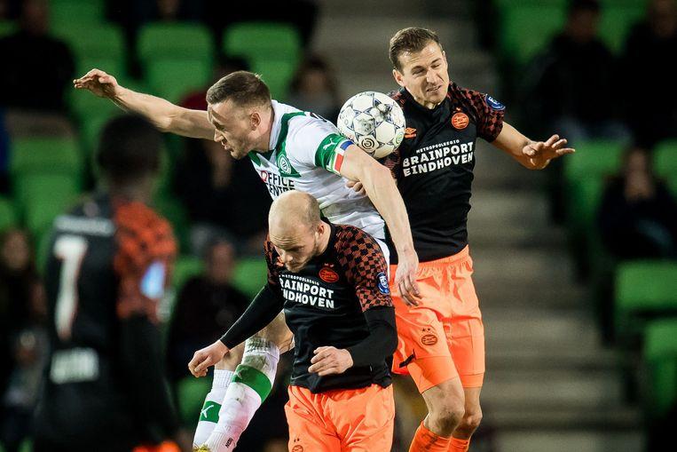 Duel tussen FC Groningen en PSV, in maart van dit jaar. Beeld ANP Sport