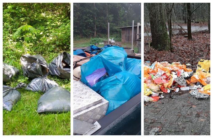Een greep uit de foto's met daarop afval dat boswachter Harco Bergman dit jaar in het Kuinderbos heeft gevonden.