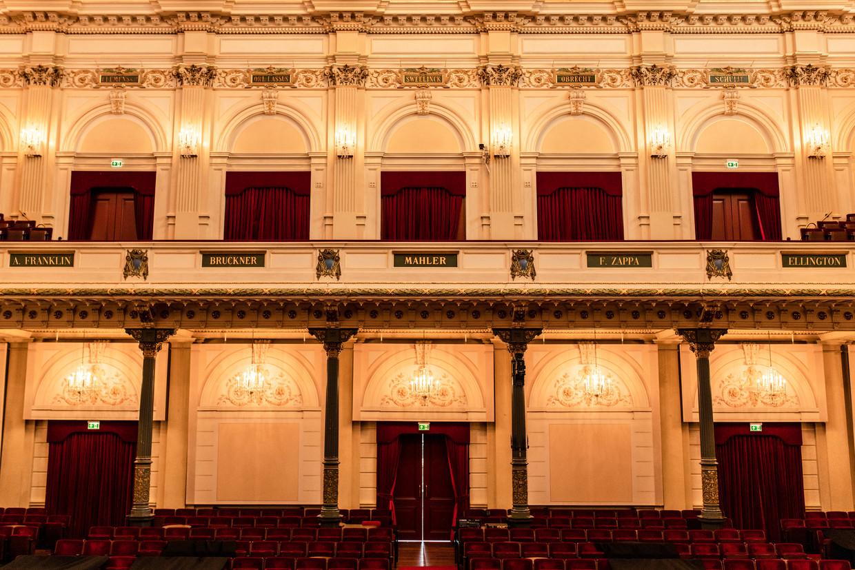 De cartouches in de Grote Zaal van het Concertgebouw, met enkele nieuwe namen. Beeld Nosh Neneh/bewerking Maarten Steenvoort