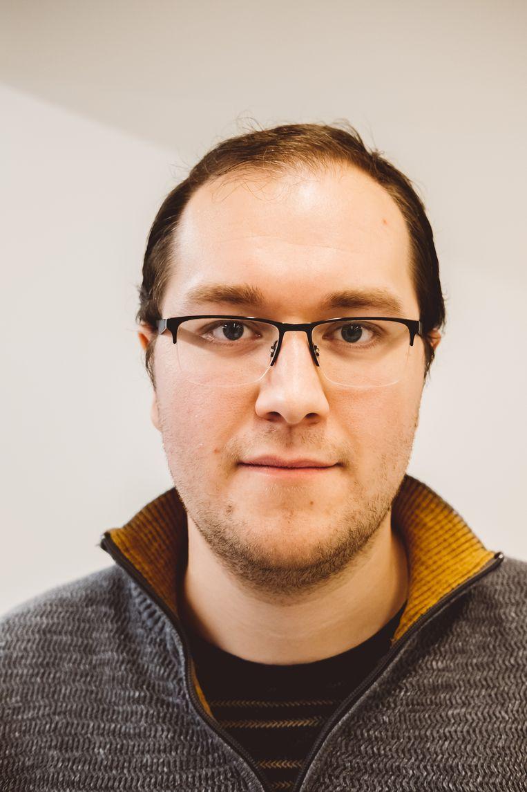 Kristof Korte: 'Als leerkracht was er altijd nog wel iets te doen. Bij de bank eindigt mijn werkdag als ik thuis ben.'  Beeld Wouter Van Vooren
