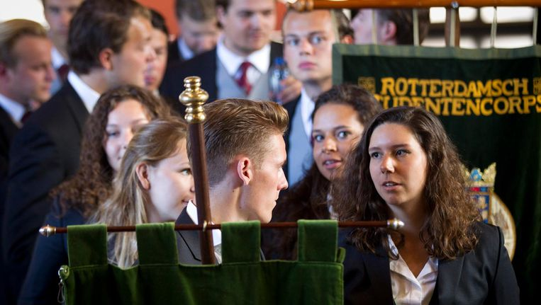 Studenten bij de opening van het academisch jaar aan de erasmus Universiteit Rotterdam. Beeld anp