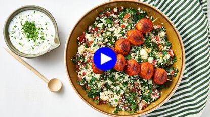 In dertig minuten een heerlijk diner op de BBQ: frisse taboulé met gehaktballen