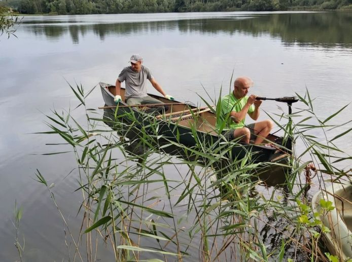 Groenarbeiders vissen de dode karpers uit het water.