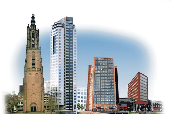 Van links naar rechts: de OLV-toren. (98,33 meter). De Regent in Eindhoven (96 meter). La Balise in Nieuwland (60 meter). Het Oppidium aan De Nieuwe Poort in Amersfoort (45 meter).