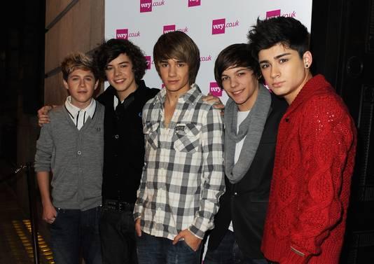 One Direction (L-R) Niall Horran, Harry Styles, Liam Payne, Louis Tomlinson and Zayn Malik in hun begintijd.