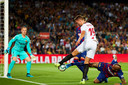 Luuk de Jong kreeg ook tegen FC Barcelona kansen, maar kwam opnieuw niet tot scoren.