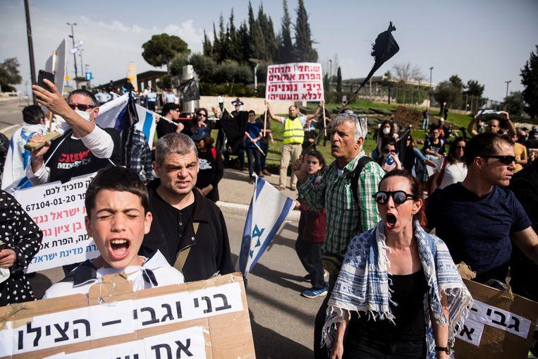 In Jeruzalem werd maandag gedemonstreerd tegen de regering. Beeld Amir Levy/Getty Images