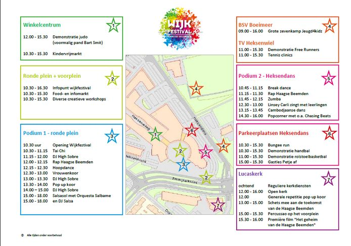 Programma Wijkfestival Haagse Beemden, dat zondag gehouden wordt in de Bredase wijk.