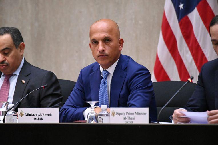 De minister van financiën van Qatar, Ali Sharif al-Emadi, tijdens de derde jaarlijkse strategische dialoog tussen de VS en Qatar. Beeld AP