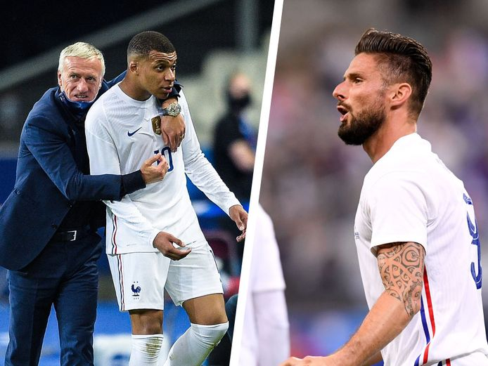 Deschamps (links) moest dus al meteen een brandje blussen tussen Mbappé en Giroud.