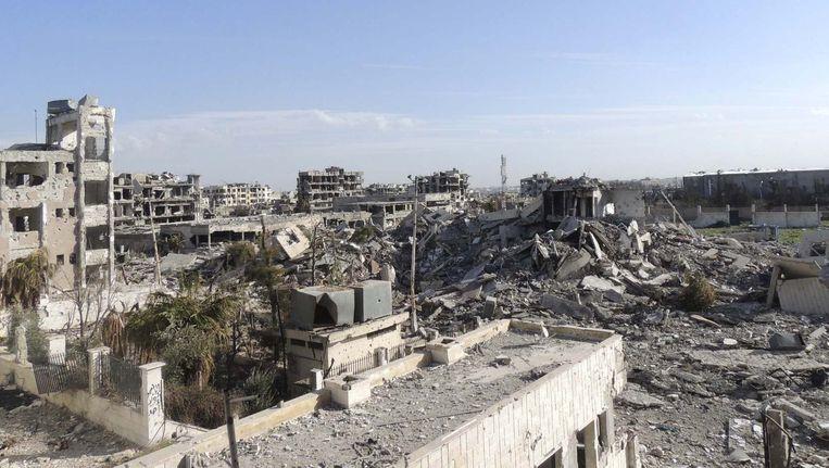Beschadigde gebouwen in Damascus.