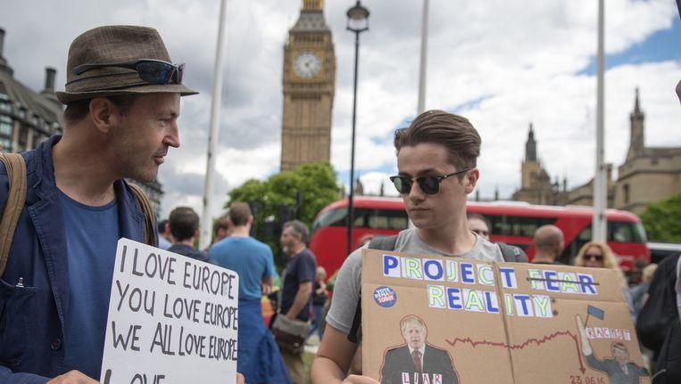 Een anti-Brexitdemonstratie op Parliament Square in London, voorbije zaterdag. Beeld Getty Images