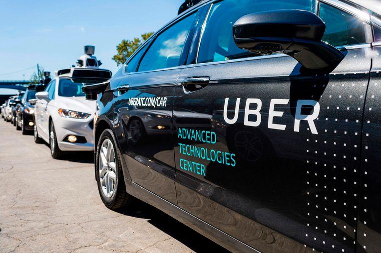 Een test voor Uber met een zelfrijdende auto in het Uber Advanced Technologies Center in Pittsburgh, Pennsylvania. Beeld AFP