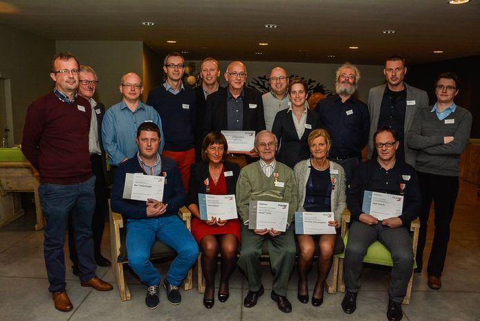 2013: vereremerkingen bij de harmonie Sint-Cecilia. Zittend centraal Daniel Valcke