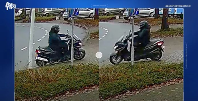De scooterrijder die gezocht wordt.