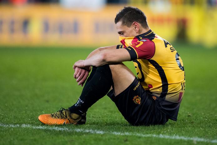 KV Mechelen-aanvaller Nicolas Verdier na de verloren macht tussen KV Mechelen en Royal Excel Moeskroen.