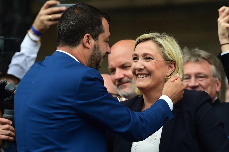Matteo Salvini (Lega Nord) en Marine Le Pen (Rassemblement National) behoren beiden tot het 'Europa van Naties en Vrijheid'.   Beeld Getty Images