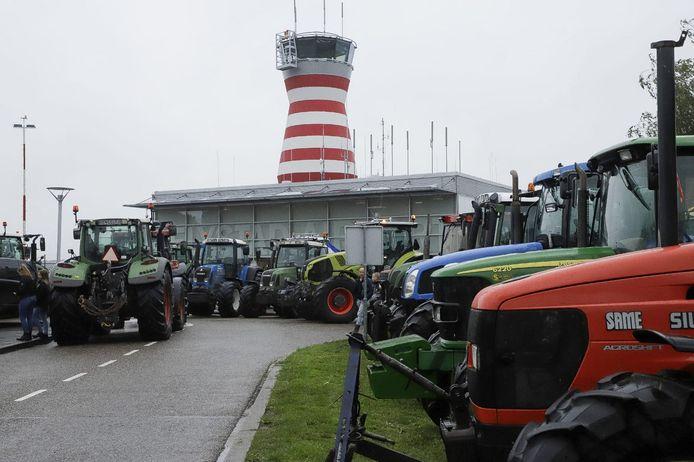 Protest bij Lelystad Airport.
