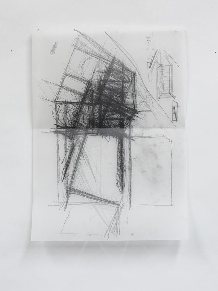 Elk ontwerp begint met een 'zwarte tekening', zoals hier voor de woning Van Aelten - Oosterlinck in Opwijk. Beeld RV